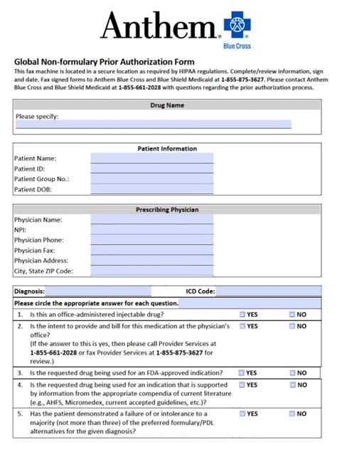 blue cross blue shield medication prior authorization form