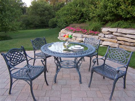 patio aluminum cast dining table pc oakland living chairs glass