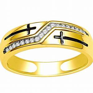 10k gold wedding band with cross mens ring 65mm wide 0 With wedding rings cross