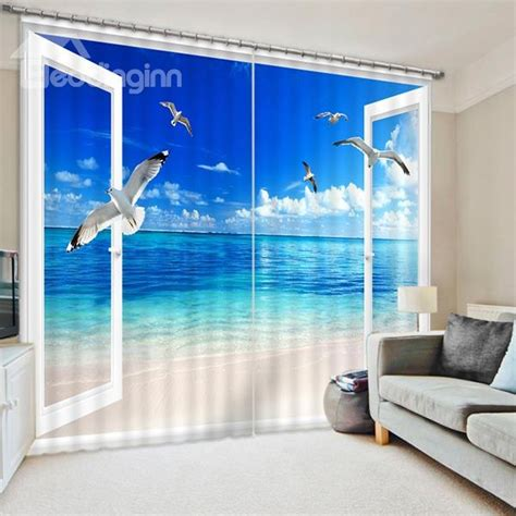 seaside  blue sky  flying seagulls printed