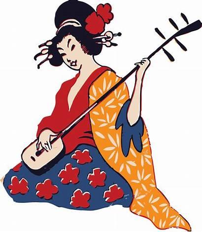 Clipart Musical Musician Transparent Playing Geisha Shamisen