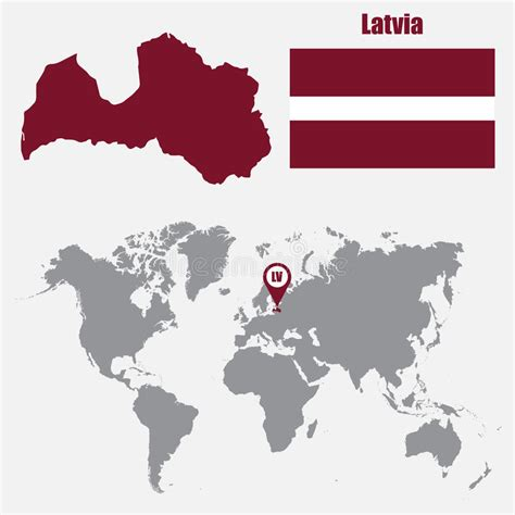 Latvia Map On A World Map With Flag And Map Pointer ...