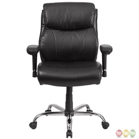 Hercules Big & Tall Black Leather Swivel Task Chair W