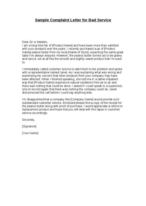 Sample Letters Of Complaint For Poor Service   scrumps