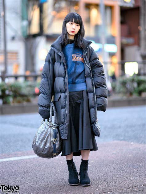 japanese model  oversized rick owens puffer coat dirk bikkembergs bag yohji yamamoto
