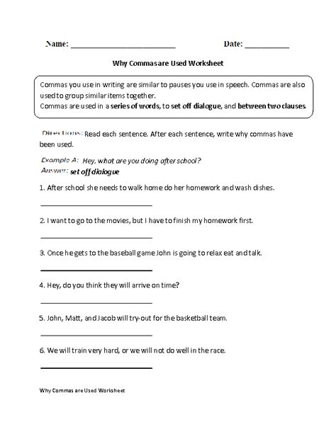 commas worksheets why commas are used worksheet