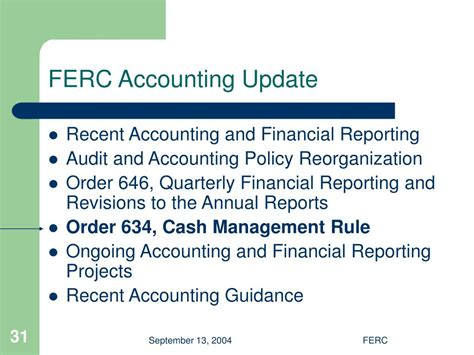 ferc accounting  financial reporting update