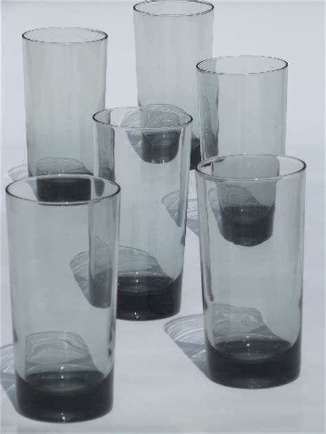 retro grey smoke glass tumblers tall bar glasses vintage