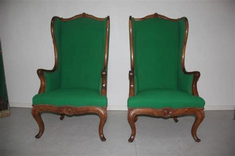 Big Armchairs Chippendale Mid-century Design Wood Carved