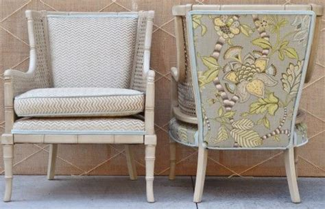 Mix And Match Fabrics To Create Fun Upholstery! I Love These Cane Chairs.