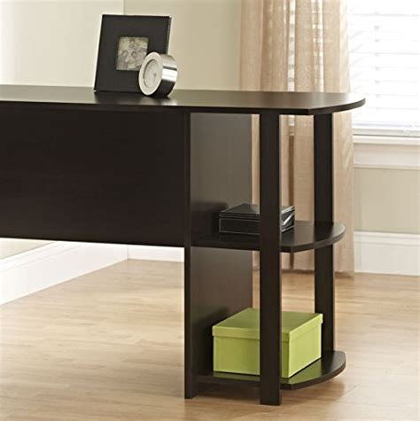 easy to assemble desk office l shaped desk with 2 shelves is compact and