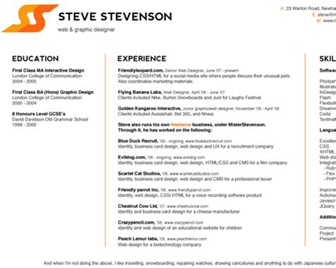 Web Design Resume by How To Create A Great Web Designer R 233 Sum 233 And Cv