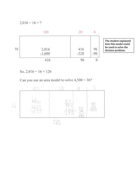 dividing using an area model with larger divisors - Division Worksheets Area Model