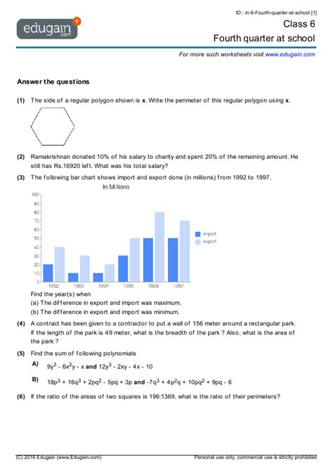 class  math worksheets  problems fourth quarter