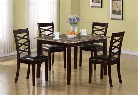 5pc dining table set pedestal table and chairs buy homelegance