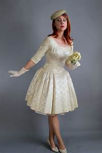 cyber monday sale 1950s cream brocade winter wedding dress With cyber monday wedding dresses