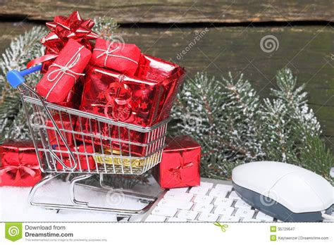 Online Shopping Christmas Gifts Royalty Free Stock