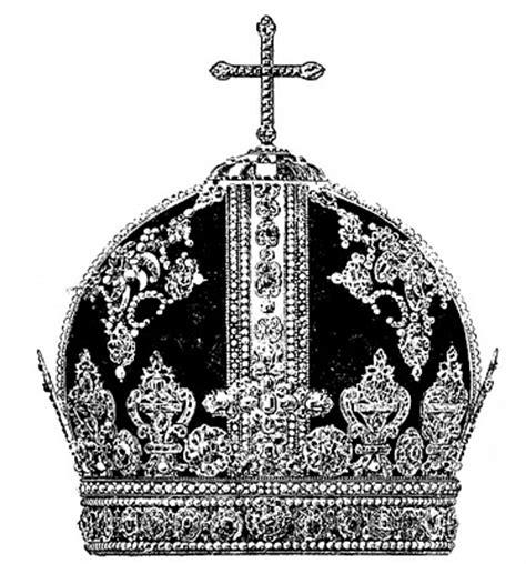 vintage clip art antique crown black  white
