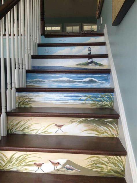 coastal hand painted stairwell mural  ocean city murals