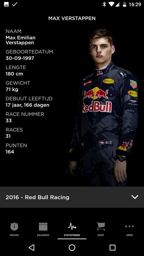 Max verstappen, red bull racing rides the circuit. Max Verstappen-app houdt je volledig op de hoogte