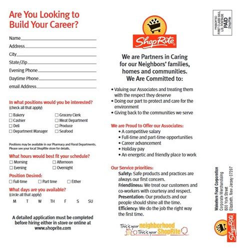 Shoprite Job Application Form