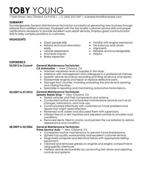 Resume For Maintenance by 11 Outstanding Automotive Resume Exles Templates From