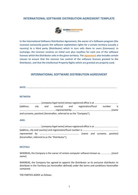 software distribution agreement forms   word