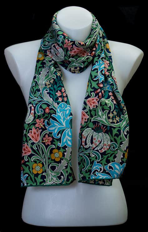 william morris scarf golden lily green