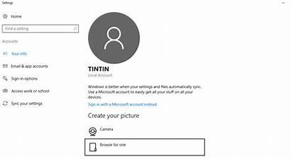 Account Profile Windows Microsoft Generic Settings Win10