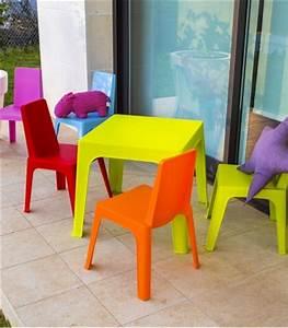 Table Et Chaise Pour Bébé : lot 4 chaises 1 table enfant de jardin en r sine color e ~ Farleysfitness.com Idées de Décoration