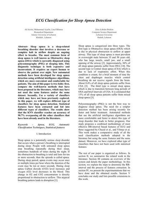 (PDF) ECG Classification for Sleep Apnea Detection