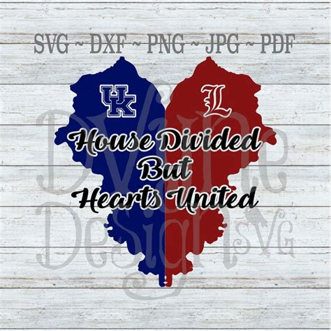 Kentucky House Divided but Hearts United SVG UK and | Etsy ...