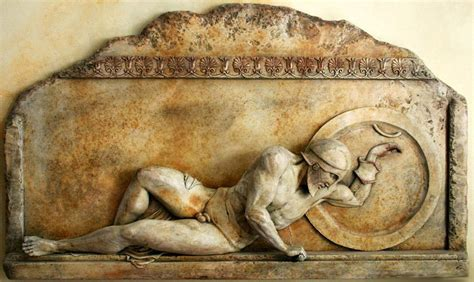 Ancient Greek Wounded Warrior Large Plaque Sculpture