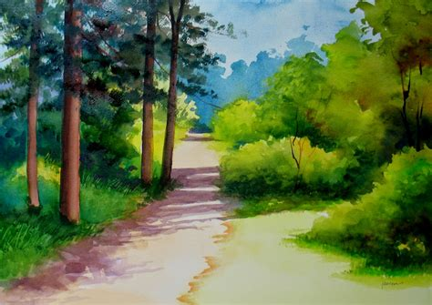 Nel's Everyday Painting Watercolor Landscape Sold