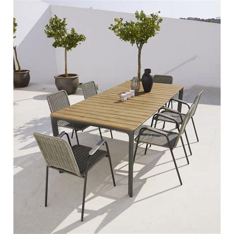table de jardin 8 personnes table de jardin 6 8 personnes en composite et aluminium l200 fuji maisons du monde