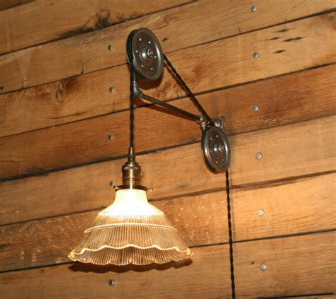 large pulley wall mount   pendant light