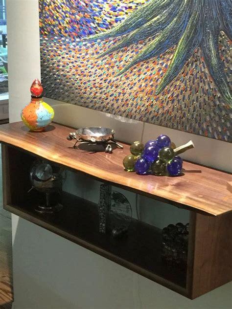 custom  edge walnut floating bookcase table wall shelf