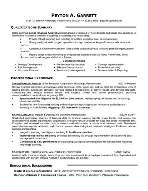 Senior Credit Analyst Resume by Sle Resume For A Financial Analyst Search