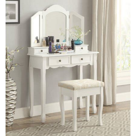 Vanity And Stool Sets by Roundhill Furniture Sanlo White Wooden Vanity Make Up
