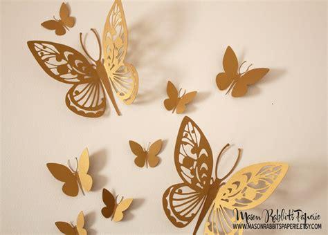 Home Interior Gold Butterflies : 3d Gold Butterfly Wall Decal Set For Weddings Wall Decor