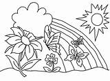 Rainbow Coloring Pages Printable Sheets Cute Adults Nature Flowers sketch template