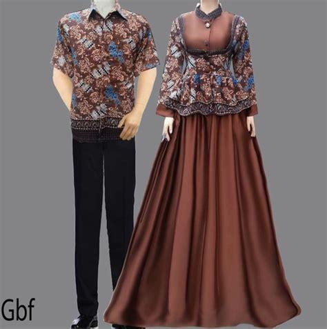 model gamis cantik baju gamis batik sarimbit coklat