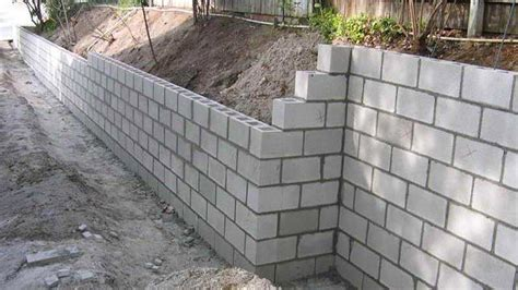 how to build a cement retaining wall concrete block retaining wall construction youtube