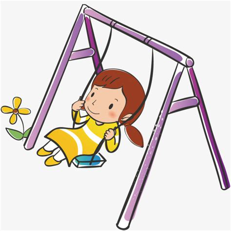 si鑒e balancoire la fille sur la balançoire la balançoire illustration dessin png et vecteur pour téléchargement gratuit