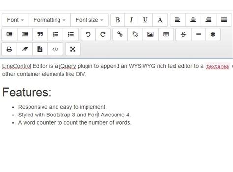 responsive wysiwyg text editor with jquery and bootstrap