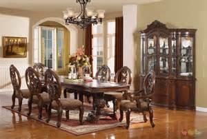 9 Dining Room Set Windham Formal Dining Set Walnut Brown Wood Carved Dining Room Set