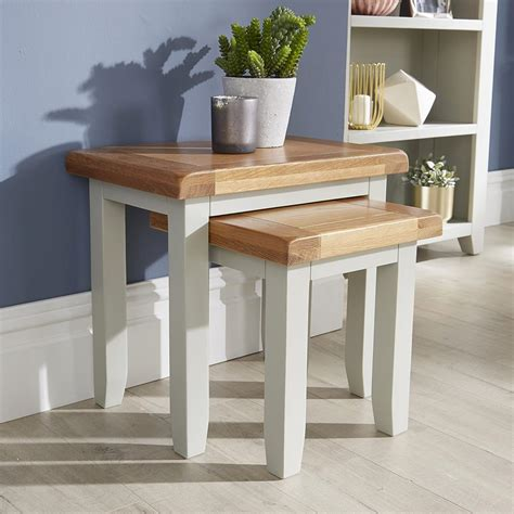 Weathered gray coffee table with shelf coffee tables reclaimed, source: Modern Grey Painted Solid Wood Nest of 2 Side End Coffee Tables Living Room Set