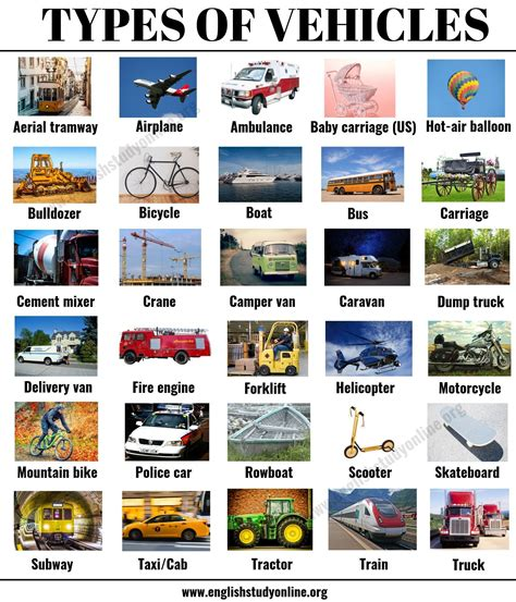 types  vehicles list  vehicle names  examples