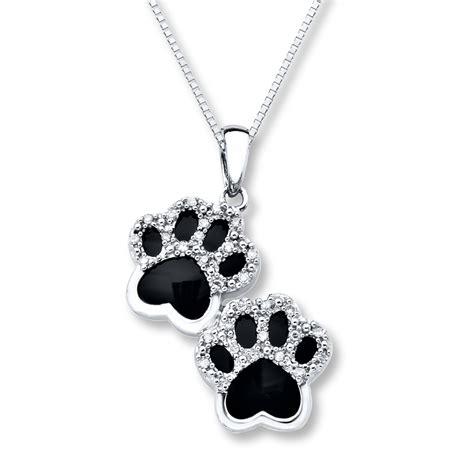 onyx paw print necklace  ct tw diamonds sterling