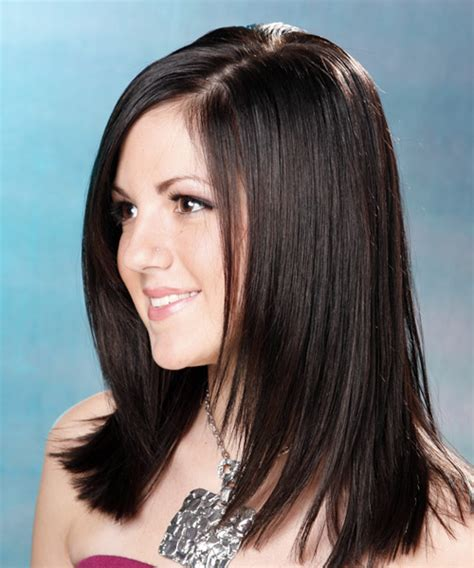 long straight formal hairstyle mocha hair color